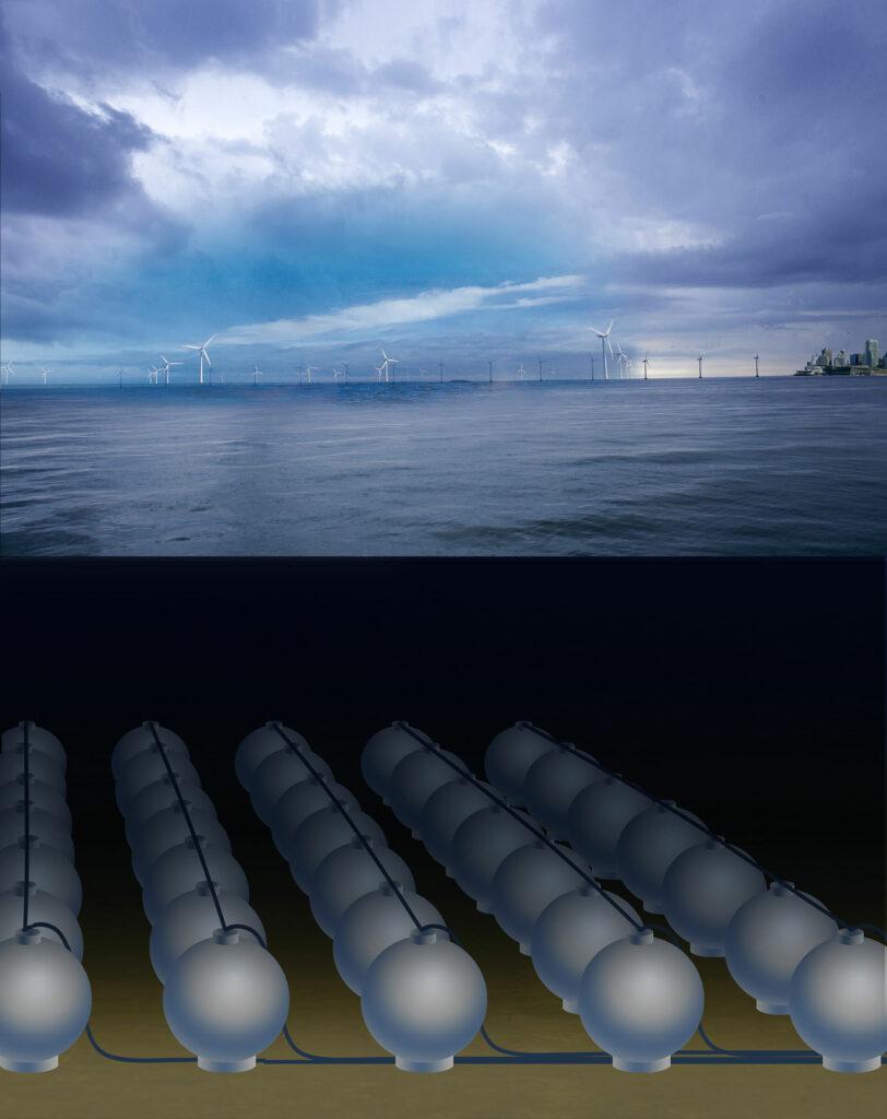 Energievorräte auf dem Meeresgrund Schmidt-Böckings Konzept sieht eigentlich vor, Kugelpumpspeicher als Zwischenspeicher für Offshore-Windkraftanlagen zu nutzen. Bild: Fraunhofer IEE