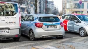 Fahrzeuge der Carsharing-Anbieter stadtmobil, car2go, Flinkster