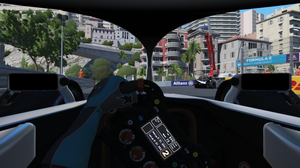 Szene aus dem virtuellen Formel E-Rennen auf einer Strecke durch Monaco.