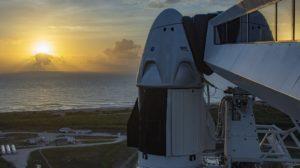 Dragon-Raumkapsel auf der Falcon-Rakete in Cape Canaveral