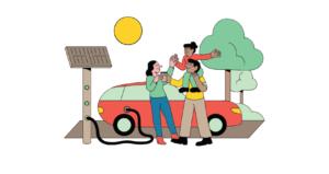Familie beim Laden eines Elektroautos
