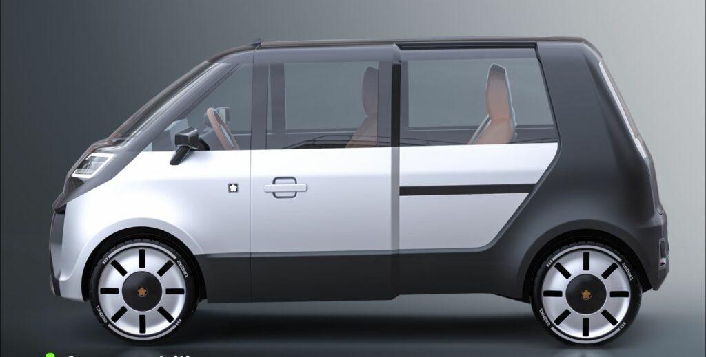 Schuhkarton mit Schiebetüren Die Raumökonomie wird beim Mia 2.0 groß geschrieben. Der Fahrer sitzt allein vorn - bis zu drei Passagiere haben in der Reihe dahin Platz. Und auch ein wenig Gepäck. Geladen werden die Akkus im Fahrzeugboden kabellos. Foto: Fox e-mobility