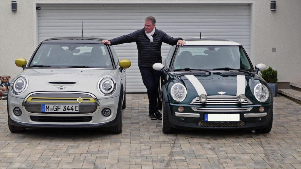 Junge, bist Du groß geworden  Schon im Vergleich mit einem Mini Cooper aus dem Jahr 2004 (R50) fällt auf, wo das Modell zugelegt hat: Bei Größe und Gewicht. Die Reichweite des Kleinwagens ist dagegen mit dem Elektroantrieb deutlich geschrumpft.