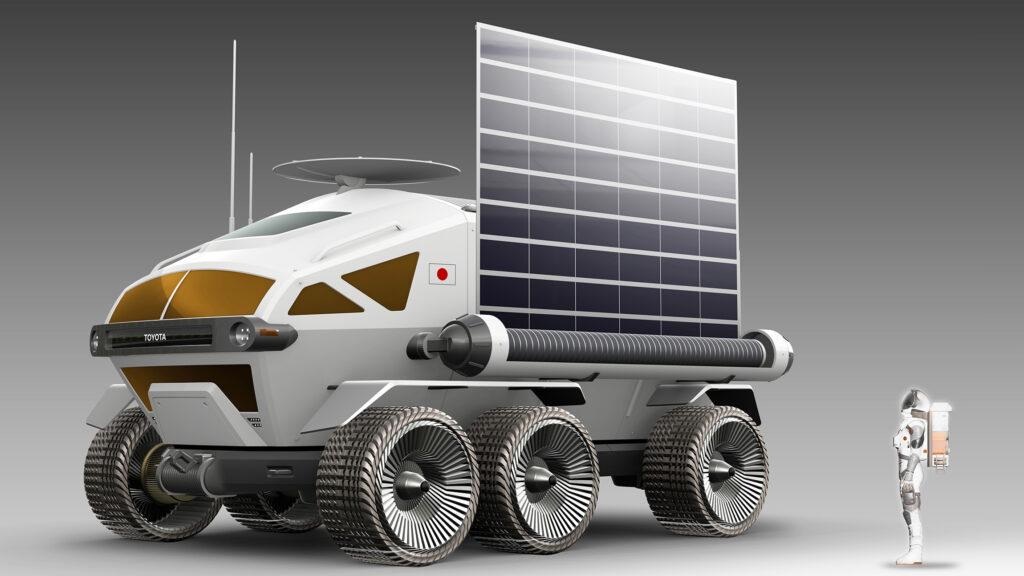 Ein paar Nummern größer Toyota und die japanische Weltraumagentur JAXA (Japan Aerospace Exploration Agency) arbeiten gemeinsam an einem Rover-Mondfahrzeug mit Brennstoffzellenantrieb, mit dem die Mondoberfläche monatelang ohne Tankstopp erkundet werden kann. 2019 wurde ein erster Entwurf des Mannschaftstransporters in Japan vorgestellt. Foto: Toyota