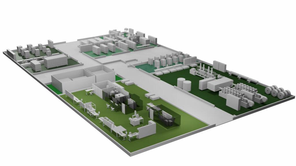 Die geplante Referenzfabrik umfasst wesentliche Produktionsmodule zur Fertigung eines Brennstoffzellen-Stacks. Links hinten die Komponenten-Freigabe, daneben das Labor, vorne rechts Prüfstände und links vorne die Montage der Stacks.