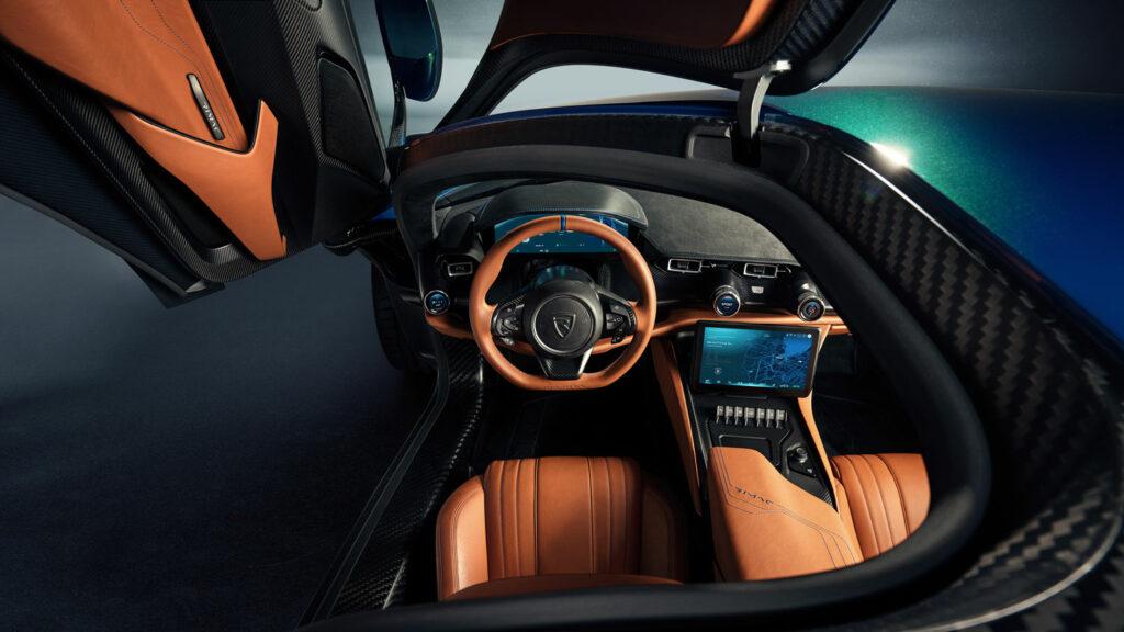 Schöner Wohnen  Blick in den Innenraum des Rimac Nevera, des schnellsten Elektroautos der Welt. Foto: Rimac