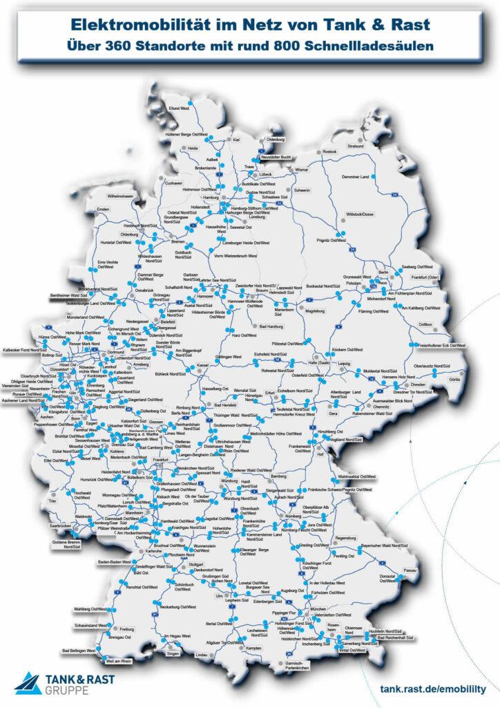 Die Deutschland-Karte von Tank & Rast zeigt, an welchen Autobahn-Raststätten heute schon Schnellladestationen für Elektroautos existieren.