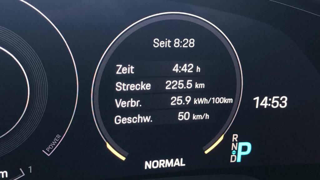Effizienter Energieeinsatz  Trotz forscher Fahrweise konsumiert der 460 kW (625 PS) starke Porsche Taycan Turbo S auf der Testfahrt im Schnitt nicht einmal 26 Kilowattstunden - das entspricht etwa einem Verbrauch von fünf Litern Benzin auf 100 Kilometern.