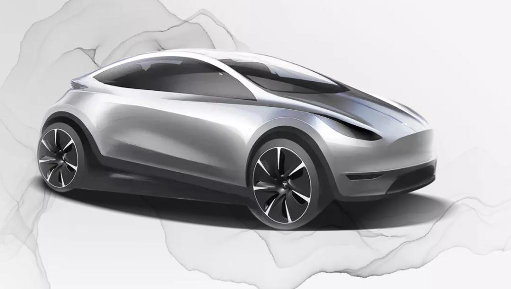 Teslas Designskizze eines Chinamodels