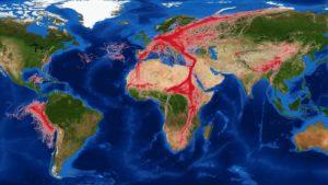 Weltkarte mit Tierzügen