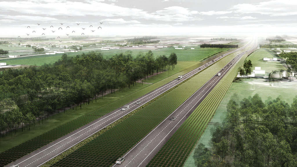 Entwurf für geplante Solaranlagen in den Niederlangen entlang der Autobahn A37